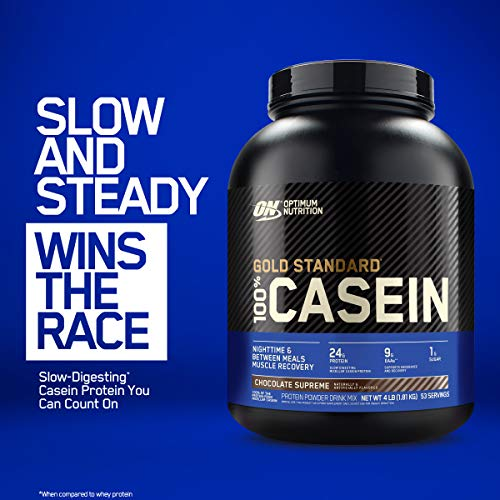 Optimum Nutrition Gold Standard 100% Micellar Casein Protein Powder, Slow Digesting, Helps Keep You Full, Overnight Muscle Recovery, Creamy Vanilla, 4 Pound (Packaging May Vary)