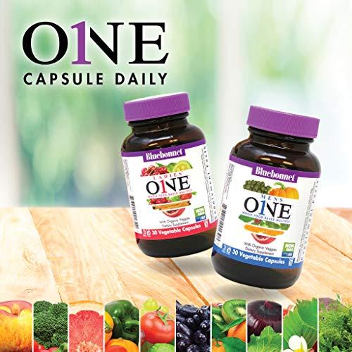 Bluebonnet Nutrition Men?s One Vegetable Capsule, Whole Food Multiple, K2, Organic Vegetable, Energy, Vitality, Non-GMO, Gluten Free, Soy Free, Milk Free, Kosher, 60 Vegetable Capsules, 2 Month Supply