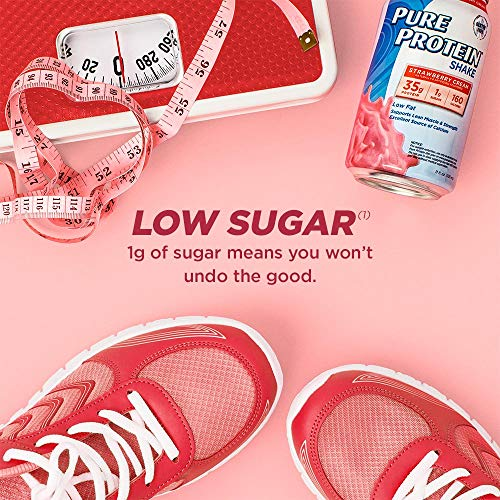 Pure Protein Strawberry Cream Protein Shake   35g Complete Protein   Ready to Drink and Keto-Friendly   Excellent Source of Calcium   11oz Cans   12 Pack