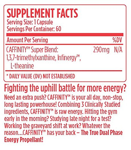 VMI Sports, Caffinity, 60 Count, Nootropic Energy Supplement with Time Released Caffeine and L-Theanine, All Day Energy and Focus Without The Crash of Coffee or Energy Drinks