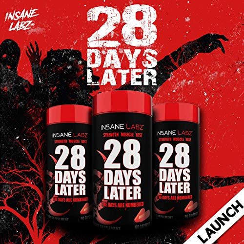 Insane Labz 28 Days Later Men?s Test Booster, Increase Stamina, Endurance, Strength and Lean Muscle Mass, 30 srvgs, 90 Capsules