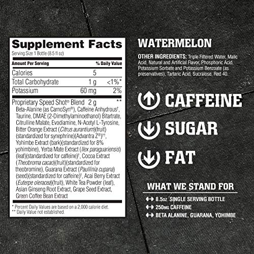 American Body Building (ABB) Speed Shot, Caffeine Shake, Pre-Workout, Intense Energy Shot with Zero Sugar, Watermelon Flavored Ready to Drink 8.5 oz Bottles, 12 Count