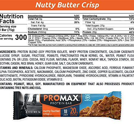Promax Crispy 20g High Protein No Artificial Ingredients Gluten Free 12 Count, Nutty Butter Crisp, 31.68 Ounce