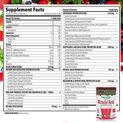 MacroLife Naturals Miracle Reds Superfood Powder - 19 Antioxidant-Rich Fruits & Berries, Polyphenols, Enzymes, Probiotics - Raw, Non-GMO, Organic, Vegan, Gluten-Free, Dairy-Free - 10oz (30 Servings)