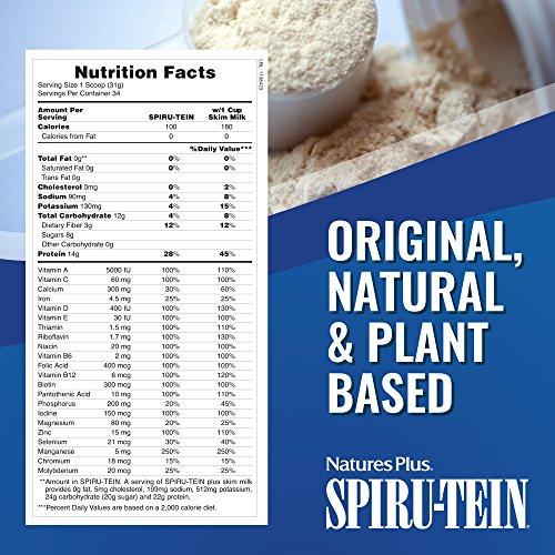NaturesPlus SPIRU-TEIN Shake - Chocolate Peanut Butter - 2.3 lbs, Spirulina Protein Powder - Plant Based Meal Replacement, Vitamins & Minerals for Energy - Vegetarian, Gluten-Free - 34 Servings