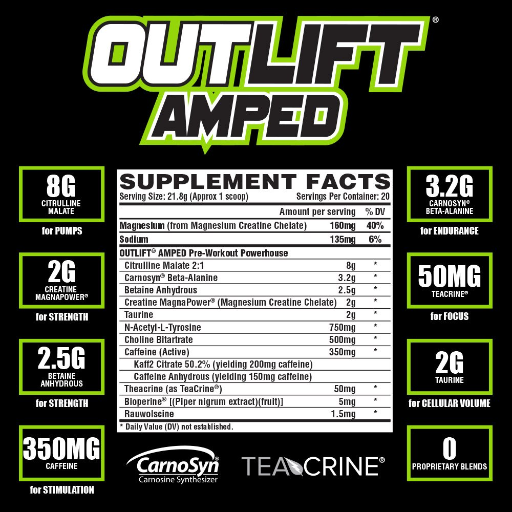 Nutrex Research Outlift Amped | Premium High Stim Pre Workout for Men and Women with Intense Energy & Focus, Increase Pumps with Citrulline, Creatine, & Beta-Alanine | Cosmic Blast Flavor, 20 Servings