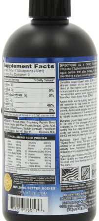 Dymatize Nutrition Liquid Super Amino 23000mg, Grape, 16 Ounce