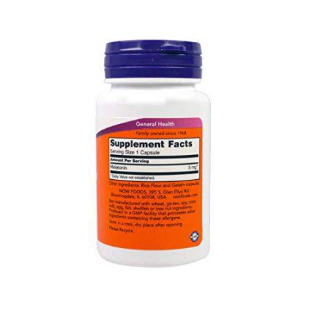NOW Food Melatonin 3 mg 60 Capsules