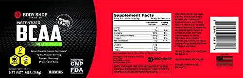 Body Shop Nutrition Instantized 2:1:1 BCAA Powder - Green Apple - 30 Servings - Non-GMO Workout Powder