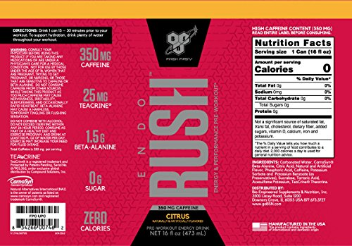 BSN Endorush Energy Drink, Citrus Flavor Pre-workout for Men and Women, 350mg of Caffeine, 0g of Sugar, 16oz Cans, 12 Count