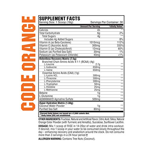 GCode Rise Relentless Aminos (Code Orange) Recovery Elixir for Muscle Recovery, Electrolytes and Hydration- 30 Servings