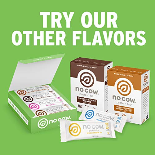 No Cow Energy Protein Bars, Chunky Peanut Butter, 12g Plant Based Protein, 45mg Natural Caffeine, 1g Sugar, Dairy Free, Vegan, Gluten Free, Low Sugar, Naturally Sweetened, Non-GMO, 12 Pack