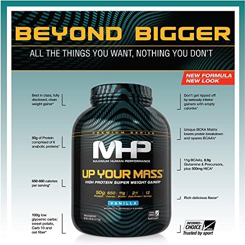 MHP Up Your Mass High Protein Super Weight Gainer, Vanilla, 4.6 Pound